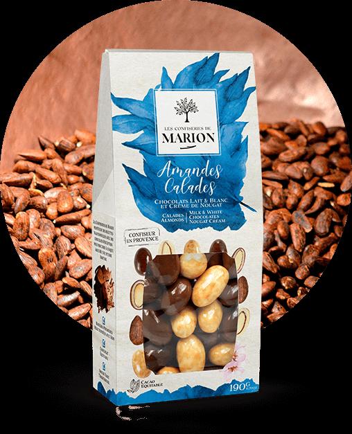 Amandes Calades Chocolats Lait et Blanc et Crème de Nougat