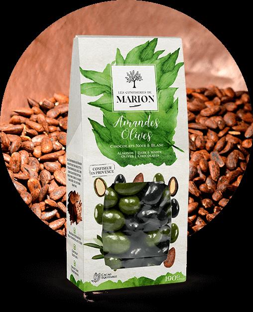 Amandes Olives Chocolats Noir et Blanc