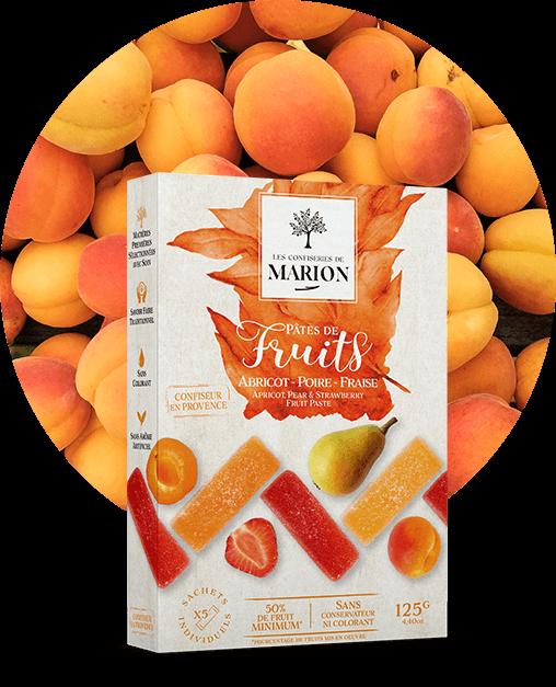 Pâtes de fruits Abricot Poire Fraise